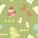 Seamless christmas pattern on green background Stock Photography