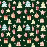 Seamless Christmas pattern on a green background. vector illustration