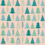 Seamless Christmas  pattern with green fir-trees Royalty Free Stock Photography