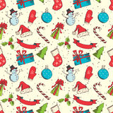 Seamless Christmas pattern. Hand-drawn elements in sketch style for your Chrstmas design Stock Image