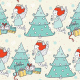 Seamless christmas pattern with hand drawn flying angel and christmas tree. Doodles in simple graphic style. Vector decorative ill Stock Photos