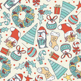 Seamless christmas pattern with hand drawn penguin with present, christmas tree and objects. Doodles in simple graphic style. Vect. Or decorative illustration in vector illustration