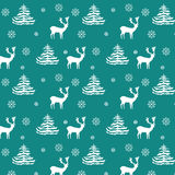 Seamless Christmas pattern hand drawn realistic reindeers, fir trees, snowflakes, white silhouette on turquoise background. Fabric, wallpaper, gift wrapping Stock Photo