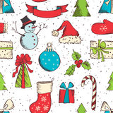 Seamless Christmas pattern. Hand-drawn vector festive background Stock Photography
