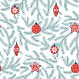 Seamless Christmas pattern. Hand drawn seamless vector pattern with fir tree branches and Christmas decorations. Design concept for winter holidays, kids textile Royalty Free Stock Photo