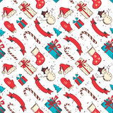 Seamless Christmas pattern. Hand-drawn vintage festive background Royalty Free Stock Photos