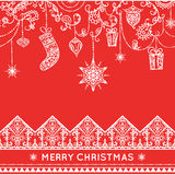 Seamless christmas pattern with hanging decoration. stock illustration