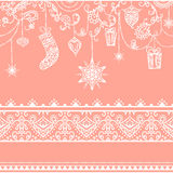 Seamless christmas pattern with hanging decoration. toys, gift, stocking, snowflake, bird and seamless lace border Royalty Free Stock Photos