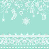 Seamless christmas pattern with hanging decoration. toys, gift, stocking, snowflake, bird and seamless lace border Stock Photos
