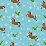 Seamless Christmas pattern with horses Royalty Free Stock Photo