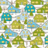 Seamless Christmas pattern with houses and trees Stock Photo