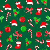 Seamless christmas pattern with lolipop candy, christmas ball, santa claus socks and hat, bow ribbon and holly berries red, white. Seamless christmas pattern Vector Illustration