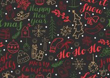 SSeamless Christmas pattern with inscriptions and doodles royalty free illustration