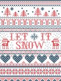 Seamless Christmas pattern Let it Snow Scandinavian style, inspired by Norwegian Christmas, festive winter in cross stitch. With reindeer, Christmas tree, heart royalty free stock photos