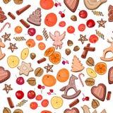 Seamless Christmas pattern with mandarines Stock Photos