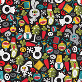 Seamless Christmas pattern with monsters. Royalty Free Stock Image