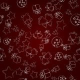 Seamless christmas pattern, illustration. New Year`s symbols on a burgundy gradient . stock illustration