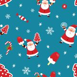 Seamless Christmas pattern. New Year pattern with Santa Claus, Christmas tree, ice cream, candy and candy. Vector vector illustration