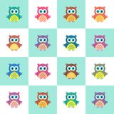 Seamless christmas pattern with owls Royalty Free Stock Photos
