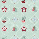 Seamless Christmas pattern . Patchwork. Stars, branches of Rowan, Christmas trees, snowflakes on a light background. Retro background vector illustration