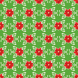 Seamless Christmas Pattern with Poinsettia Ornament  on. Green Background Stock Image