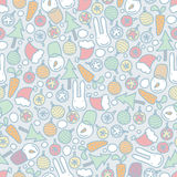 Seamless Christmas pattern with rabbits. Stock Photography