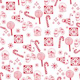 Seamless Christmas pattern red objects on white background.  vector illustration