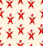 Seamless Christmas pattern with red Santa Royalty Free Stock Images