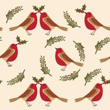 Pattern with Robin the bird. leaves, holly berries. Seamless Christmas pattern with Robin bird, holly berries on colourful background stock illustration
