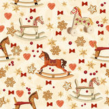 Seamless christmas pattern with rocking horse, christmas tree, candles, red bows, gingerbread, berries, golden bells in vintage st Royalty Free Stock Photos