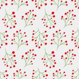 Seamless Christmas pattern with rowan branches. Vector texture with berries. Red berry. Merry Christmas. Happy New Year. Royalty Free Stock Image