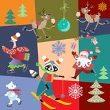 Seamless Christmas pattern with Santa Claus, new year decoration and cute cartoon animals on colorful patchwork background. Vector winter design stock illustration