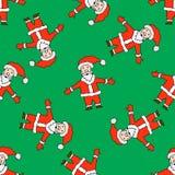 Seamless Christmas pattern with Santa Claus Stock Photos