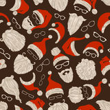 Seamless Christmas pattern of Santa hats, beards and eyeglasses. Hand-drawn Christmas illustration. Boundless background can be used for web page backgrounds Stock Image