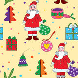Seamless christmas pattern with santa klaus. And presents Royalty Free Stock Photography