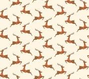 Seamless Christmas Pattern with Santa Reindeers  Stock Photo