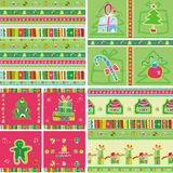 Seamless christmas pattern set Royalty Free Stock Photos