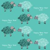 Seamless christmas pattern with sheeps. Vector seamless pattern with white and black sheeps Stock Images