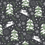 Seamless Christmas pattern. Snow covered trees Stock Image