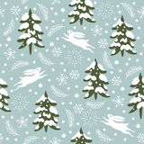 Seamless Christmas pattern. Snow covered trees Stock Photography