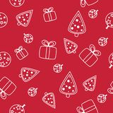 Seamless Christmas pattern with snowflakes on red background vector illustration