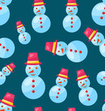 Seamless Christmas pattern snowman Stock Photo
