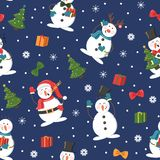 Seamless Christmas pattern with snowman, gifts and snowfall royalty free illustration