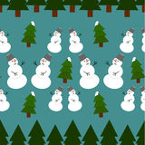 Seamless christmas pattern. With snowmans and trees Royalty Free Stock Image