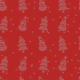 Seamless christmas pattern. With snowmans and trees Royalty Free Stock Photography