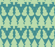 Seamless christmas pattern. With snowmans and trees Royalty Free Stock Images