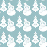 Seamless Christmas pattern with snowmans and trees. Flat elements in white color on a blue background. Vector Royalty Free Stock Photography