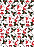 Seamless Christmas pattern with socks, candies, holly, and bows. stock illustration