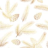 Seamless Christmas Pattern with Spruce Branches and Pine Cones. Gold foil elegant Christmas Background with fir branches and pine cones isolated on white stock illustration