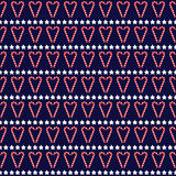 Seamless Christmas pattern with stars and candy canes. Happy New Year and Merry Xmas background texture. Vector design for winter holidays on dark blue Stock Photo